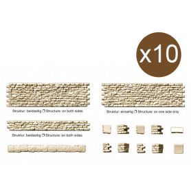Set de murs en pierre, escaliers - HO 1/87 - PREISER 18215