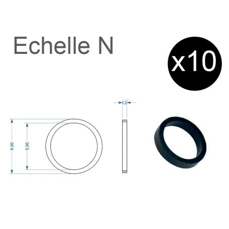 10x bandages de roue Ø 5,95 - 6,95 mm - N - FLEISCHMANN 547002